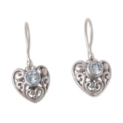 Heart-Shaped Blue Topaz Dangle Earrings from Bali