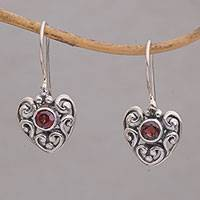 Garnet dangle earrings, 'Marry Me' - Heart-Shaped Garnet Dangle Earrings from Bali