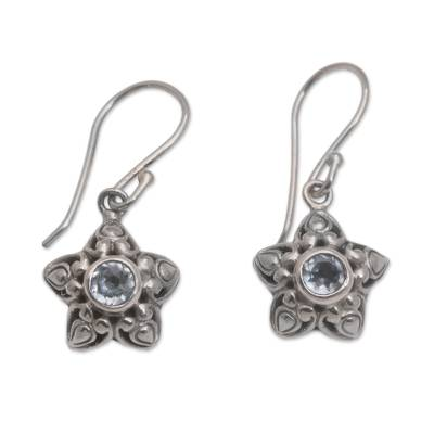 Star-Shaped Blue Topaz Dangle Earrings from Bali
