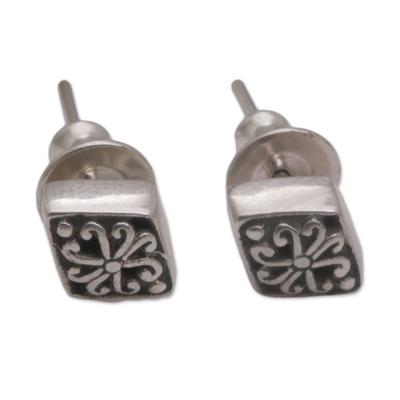 Sterling silver stud earrings, 'Diamond Curls' - Curl Motif Sterling Silver Stud Earrings from Bali