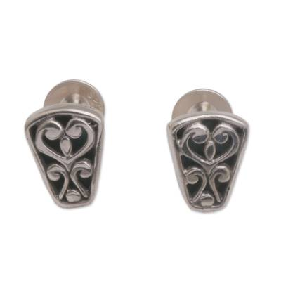 Sterling silver stud earrings, 'Endless Spirals' - Spiral Motif Sterling Silver Stud Earrings from Bali