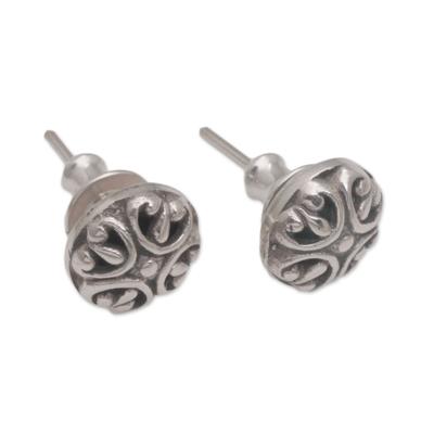 Sterling silver stud earrings, 'Prideful Circles' - Circular Sterling Silver Stud Earrings from Bali