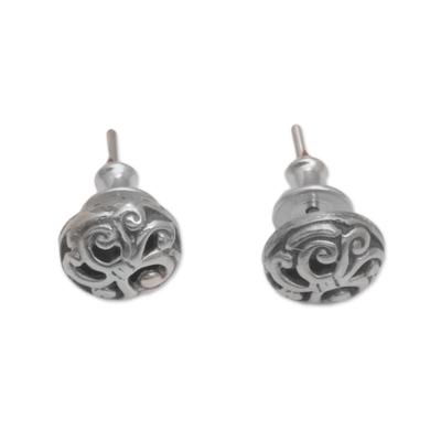Sterling silver stud earrings, 'Dreamy Spirals' - Spiral Motif Circular Sterling Silver Earrings from Bali