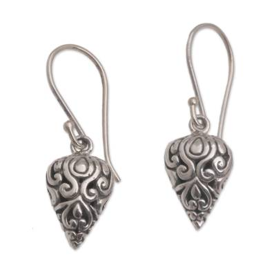 Sterling silver dangle earrings, 'Pointed Vines' - Pointed Sterling Silver Dangle Earrings Crafted in Bali