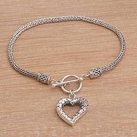 Sterling silver charm bracelet, 'Love Is Complex'