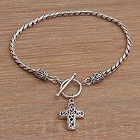 Sterling silver charm bracelet, 'Dotted Cross'