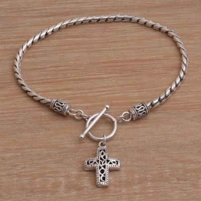 Sterling silver charm bracelet, 'Dotted Cross' - Handmade 925 Sterling Silver Cross Pendant Bracelet