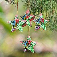 Wood ornaments, 'Island Butterflies' (set of 4) - 4 Hand Painted Balinese Star Ornaments with Butterflies