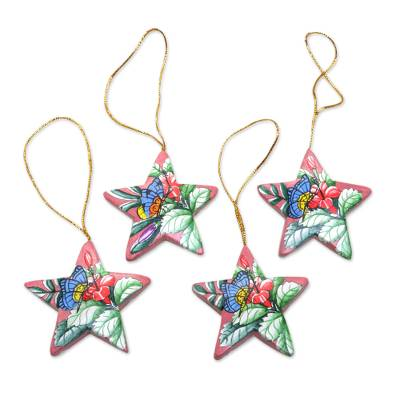 4 Hand Painted Balinese Star Ornaments with Butterflies