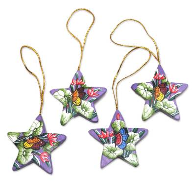 Wood ornaments, 'Butterflies in Lavender Skies' (set of 4) - 4 Lavender Star Ornaments Hand Painted with Butterflies