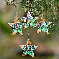 Wood ornaments, 'Sunset Butterflies' (set of 4) - 4 Hand Painted Balinese Star Ornaments with Butterflies