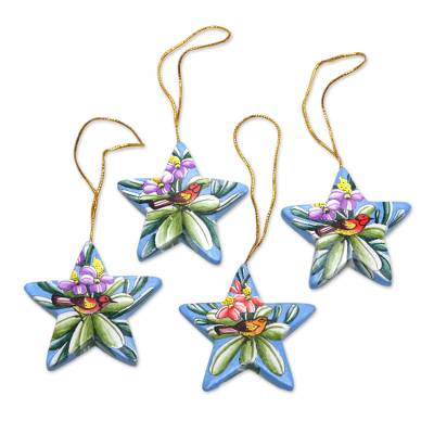 Wood ornaments, 'Birds of the Islands' (set of 4) - Hand Painted Balinese Star Ornaments (Set of 4)