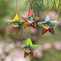 Wood ornaments, 'Island Ducklings' (set of 4) - Hand Painted Star Ornaments with Ducklings (Set of 4)