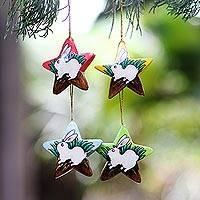 Wood ornaments, 'White Island Bunnies' (set of 4) - Balinese Hand Painted Bunny Rabbit Star Ornaments (Set of 4)