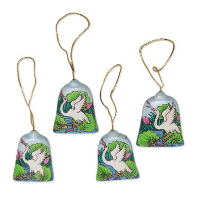 Wood holiday ornaments, 'Heron Lake' (set of 4) - Hand Made Heron at Lakeside Holiday Ornaments (Set of 4)
