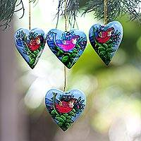 Wood ornaments, 'Birds in My Heart' (set of 4) - 4 Hand Painted Heart Ornaments with Scarlet Macaws