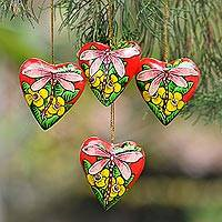 Wood ornaments, 'Dragonfly Love' (set of 4) - 4 Hand Painted Balinese Heart Ornaments with Dragonflies