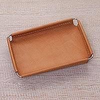Leather catchall, 'Java Caramel' (6.5 inch) - Javanese Handcrafted 6.5 Inch Caramel Leather Catchall