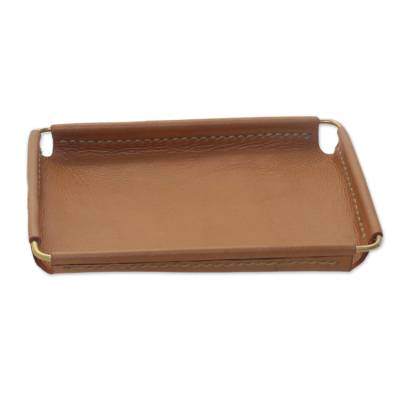 Javanese Handcrafted 6.5 Inch Caramel Leather Catchall