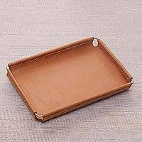 Leather catchall, 'Java Caramel' (7.25 inch) - Javanese Handcrafted 7.25 Inch Caramel Leather Catchall