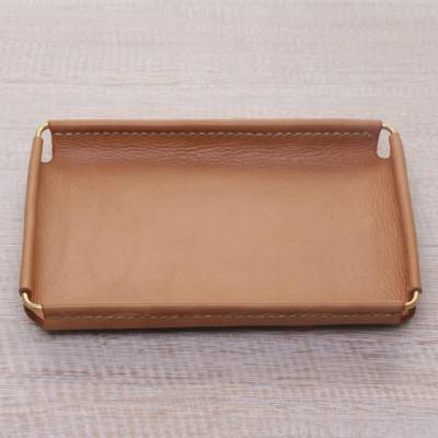 Leather catchall, Java Caramel (7.25 inch)