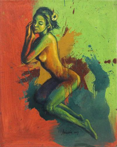 'Between Best Friend and Lover' - Signed Artistic Nude Painting of a Woman from Java