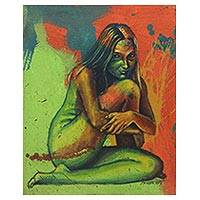 'Marry Me or Goodbye' - Signed Multicolored Artistic Nude Painting from Java