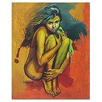 'Mimpi' - Expressionist Painting of a Nude Woman Crouched from Java