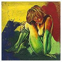 'Beautiful Sadness I' - Expressionist Painting of a Sitting Woman Nude from Java