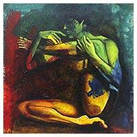 'Body and Soul' - Signed Expressionist Painting of a Naked Woman from Java