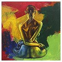 'Yoga in Silence' - Signed Painting of a Nude Woman Performing Yoga from Java