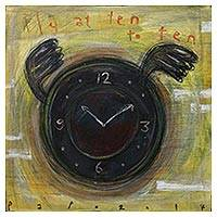 'Fly at Ten-To-Ten' - Signed Modern Painting of a Flying Clock from Java