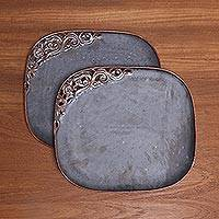 Ceramic plates, 'Keraton Presentation in Brown' (pair) - Brown Ceramic Plates with Scrolling Floral Detail (Pair)