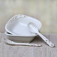 Ceramic bowls and spoons, 'Keraton Vessel in White' (pair) - White Ceramic Pair of Bowls and Spoons (4-Piece Set)