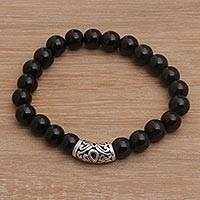 Onyx beaded stretch bracelet, 'Uluwatu Eclipse' - Onyx Beaded Stretch Bracelet