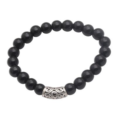 Onyx Beaded Stretch Bracelet