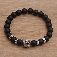 Onyx beaded stretch bracelet, 'Celuk Tradition in Black' - Onyx and Sterling Silver Beaded Stretch Bracelet from Bali