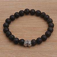 Lava stone beaded stretch bracelet, 'Full Circle in Black' - Lava Stone and Sterling Silver Beaded Stretch Bracelet