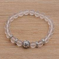 Quartz beaded stretch bracelet, 'Celuk Tradition in Clear' - Balinese Quartz and Sterling Silver Beaded Stretch Bracelet