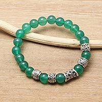 Agate beaded stretch bracelet, 'Verdant Flourish' - Hand Crafted Green Agate Beaded Stretch Bracelet from Bali