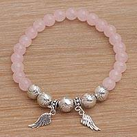 Rose quartz beaded stretch charm bracelet, 'Dawn Flight' - Rose Quartz Beaded Stretch Bracelet Sterling Silver Wings