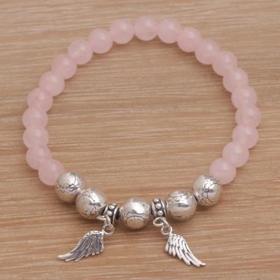 Rose Quartz Beaded Stretch Bracelet