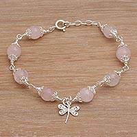 Rose quartz beaded charm bracelet, 'Moonlight Dragonfly in Rose' - Rose Quartz Bead Charm Bracelet Sterling Silver Dragonfly