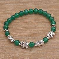 Quartz beaded stretch bracelet, 'Elephant Cavalcade in Green' - Green Quartz Beaded Bracelet with Sterling Silver Elephants
