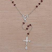 Garnet rosary, 'Solemn Prayer' - Handmade Garnet and Sterling Silver Rosary Y-Necklace