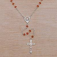 Carnelian rosary, 'Solemn Prayer' - Hand Crafted Carnelian and Sterling Silver Rosary Y-Necklace