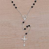 Onyx rosary, 'Solemn Prayer' - Handmade Black Onyx and Sterling Silver Rosary Y-Necklace