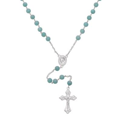 Handmade Amazonite and Sterling Silver Rosary Y-Necklace