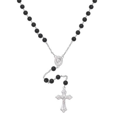 Onyx rosary, 'Blessed Mary' - Handmade Black Onyx and Sterling Silver Rosary Y-Necklace