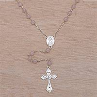 Rose quartz rosary, 'Blessed Mary' - Handmade Rose Quartz and Sterling Silver Rosary Y-Necklace